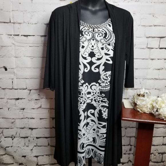 Haani Dresses & Skirts - Haani New York Black White Shirt Dress Jacket 3X
